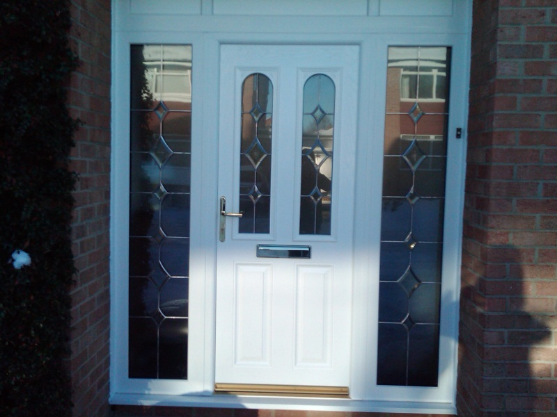 White upvc door with sidelights